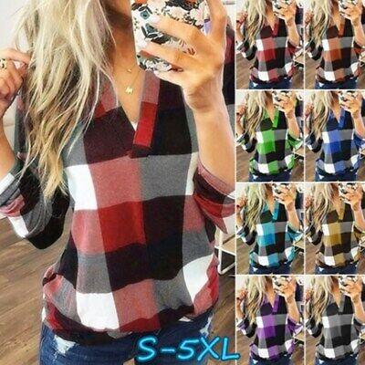 Womens V Neck Plaid Check Tee Tops Ladies Long Sleeve T Shirt Blouse Plus Size
