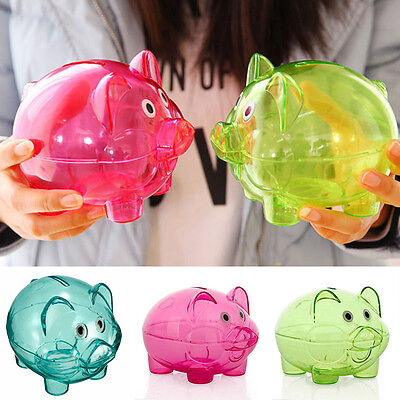 Clear Plastic Piggy Bank (Clear Kawaii PIGGY Bank Coin Money Plastic Cash Openable Saving Box Kid Newest)