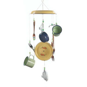 Metal Pots Clamoring Rustic Kitchen Utensils Windchime Brand New