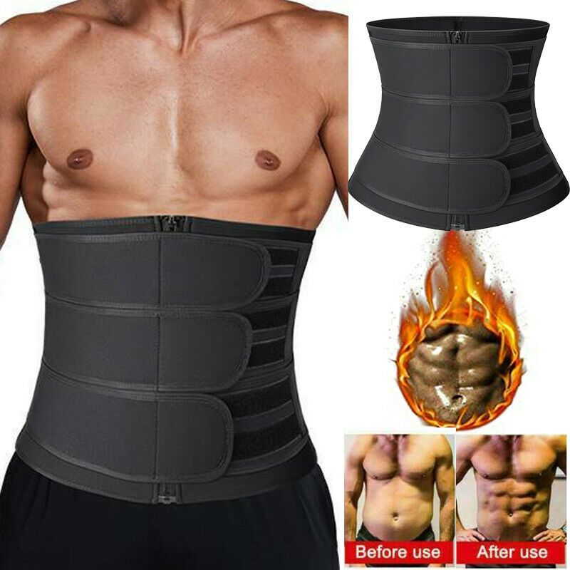 Mens Sweat Sauna Waist Trainer Weight Loss Neoprene Corset C