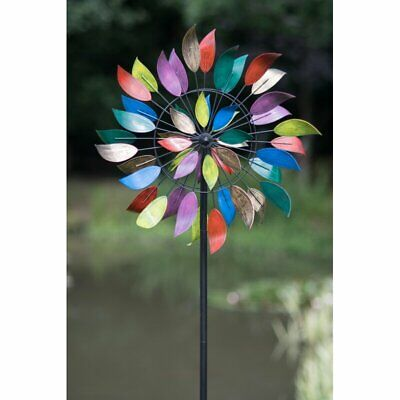 New - Metal Wind Spinner- Colourful Leaves-  Kinetic Wind Spinner  - 213cm Tall