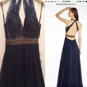 Navy with Gold Prom Dress