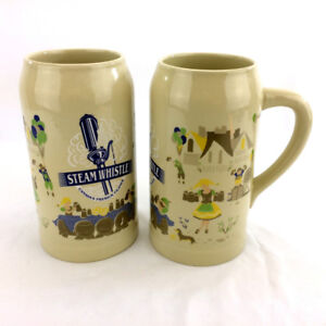 Set 2 Steam Whistle Beer Stein Tall Ceramic Mug Large 1L Canada