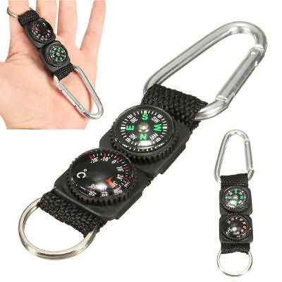 Multifunction Camping Mini Carabiner W  Keychain Compass Thermometer Key 3 In 1