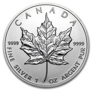 1 oz  Silver Maple Leafs .9999  !!!