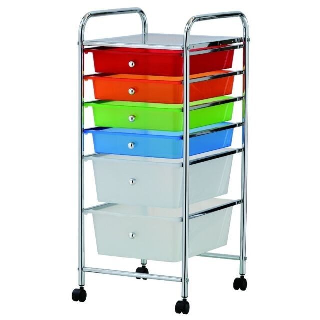 6 DRAWER MULTI COLOURED PORTABLE STORAGE CART TROLLEY WITH WHEELS  HOME OFFICE