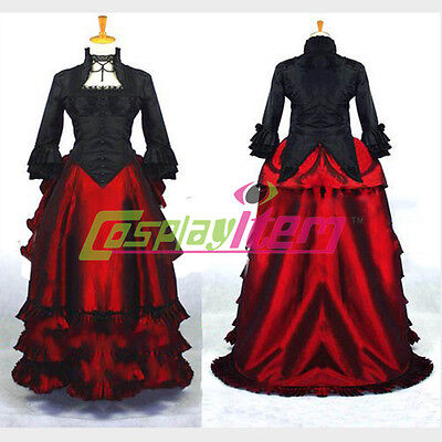 Red Renaissance Dress Costume (Black Red Rococo Dress Medieval Renaissance Victorian Ball Gown Dress Costume)