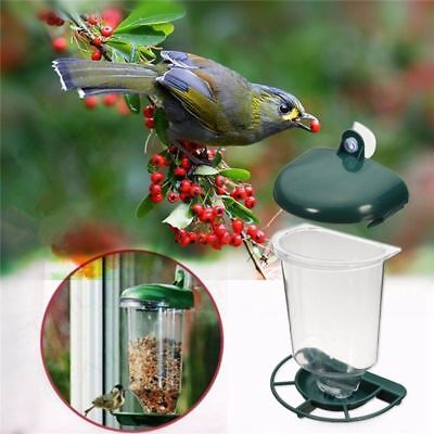 Automatic Window Wild Bird Feeder Seeds Feed Hanging Suction Feeding Cup Garden