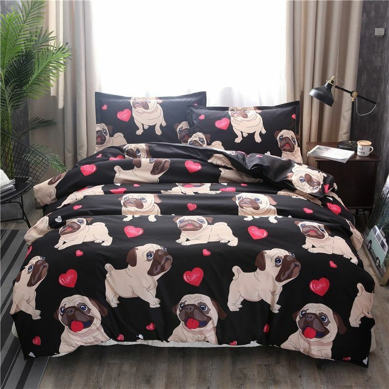 Bedding Set Printed Pug Duvet Cover Quilt Double King Queen