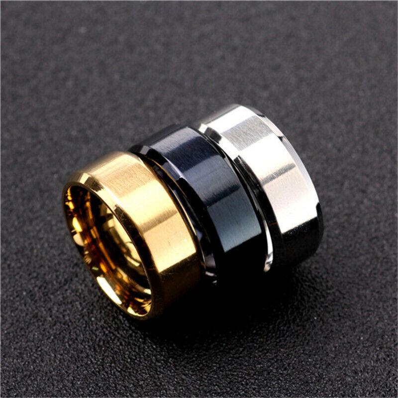 NE/_ HK Solid Polished Stainless Steel Band Biker Men Signet Ring Finger Jewel