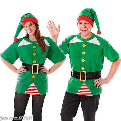 Mens Ladies Jolly Elf Santa's Helper Grotto Fancy Dress Costume Top Belt Hat Kit ()