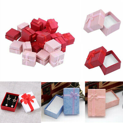 Papier Schmuck Package Boxes Ribbon Bowknot Case Ring Ohrringe Anzeige Container