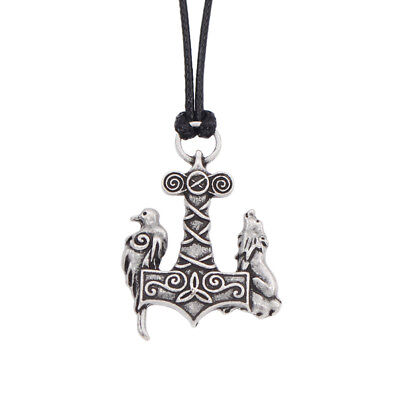 Norse Odin Raven Thors Hammer Mjolnir Viking Wolf Crow Pendant Necklace Amulet