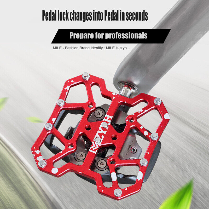 2X Bicycle Pedal Aluminum Alloy Bike Flat Platform Adapter Conversion Universal