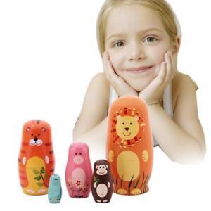 5pcs Matryoshka Animal Russian Doll Cute Wooden Nesting Dolls UK Kids Gifts UK