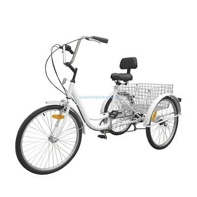 "Unisex Adult 24"" 3-Wheel 6-Speed Tricycle Trike Bicycle Bike Cruise Basket White"