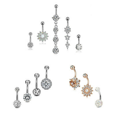 Glisten Crystal Flower Zircon Chain Stainless Steel Body Piercing Navel Ring Set Chain Set Belly Button Ring