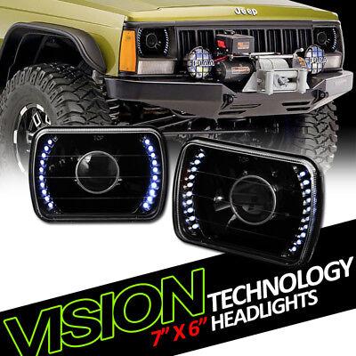 7X6 Black Clear Glass Lens White Led Projector Headlights Kit H4 H6052 H6054 V03
