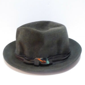 MEN'S VINTAGE 1940/50s DARK GREY FEDORA HAT - EXCELL. COND.