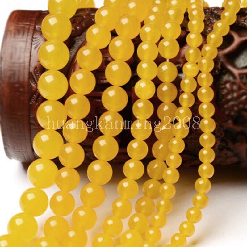 Hot 6//8//10MM Smooth Light Green Jade Round Gemstone Loose Beads 15/'/'AAA