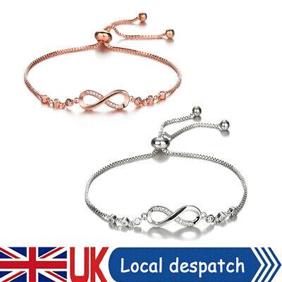 Crystal Bracelet Cubic Zirconia Bangle Infinity Friendship Bridesmaid Adjustable