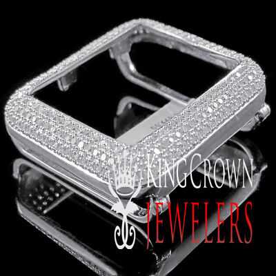 10K White Gold Over Real Silver Apple Watch Bezel Series # 1 Diamond Cover Case