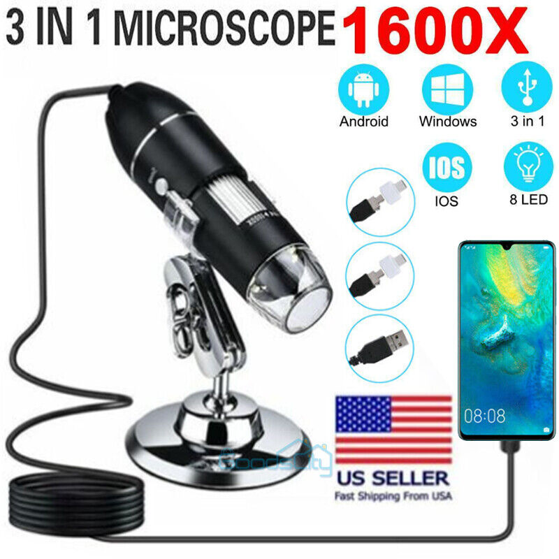 1600X 3in1 USB Digital Microscope for Electronic Accessories Coin Inspection US
