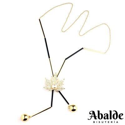 Collar Mujer Diseño Hoja De Arce Perla Bijoux Oro Accesorio Regalo ideal Pareja segunda mano  Embacar hacia Argentina