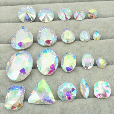 Wholesale lot clear AB ELEMENTS Crystal glass Beads Rivoli /Oval /Teardrop DIY