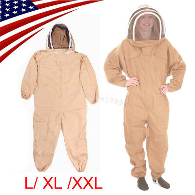 Usa Professional Cotton Full Body Beekeeping Bee Keeping Suit Veil Hood Lxlxxl