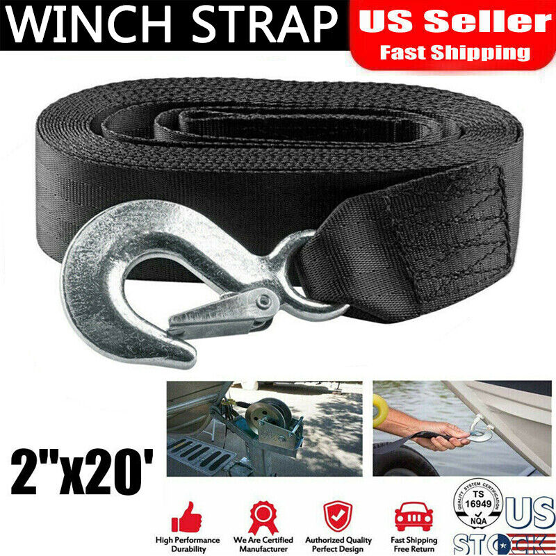 """DELUXE BOAT TRAILER REPLACEMENT WINCH STRAP 10000 lbs  2/"""" x20/' /& SNAP HOOK QUICK"""