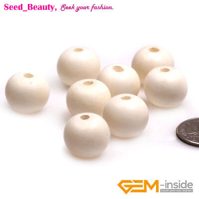 Big Hole Round Bone Beads for Jewelry Making Bulk 33pcs, 50pcs or by Strand