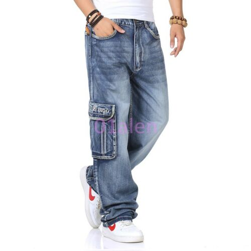 Spring Stright Leg Men Jeans Cotton Breathable Cargo Loose Military Pants 2018