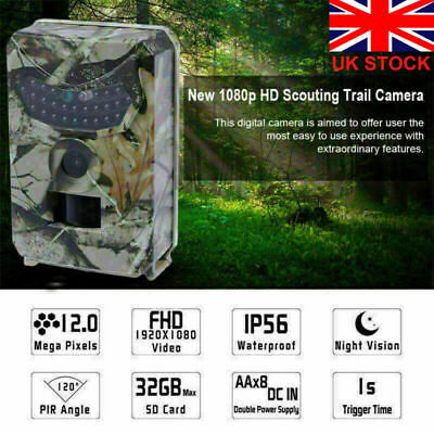 12MP Hunting Trail Camera HD 1080P Wildlife Cam Waterproof PIR Night Vision