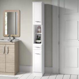 NEW UNBOXED Wayfair Tysen 25cm x 190cm Bathroom Free-Standing Cabinet (white)