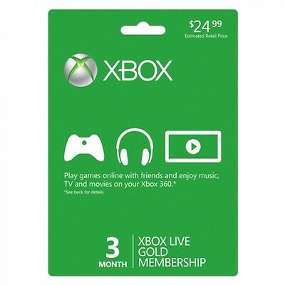 Xbox Live 3 Month Gold Membership Microsoft For Xbox One   Xbox 360