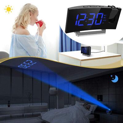 FM Radio Digital Projection Ceiling Alarm Clock LED Dual Alarms USB Projector US