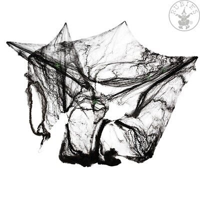 Halloween Spinnennetz schwarz mit 4 grünen Spinnen Deko Spiderweb 129177813