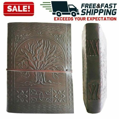 Leather Journal Diary Notebook Blank Vintage Oak Tree of Life Medieval Book