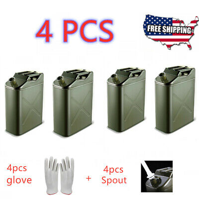 4pcs Green 20l Liter 5gallon Gal Jerry Can Backup Steel Tank Fuel Gas Gasoline