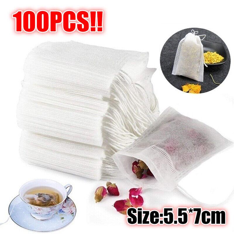 100X Tea Bags Food grade Empty Scented Tea Bags Infuser Seal Filter Paper USEJN