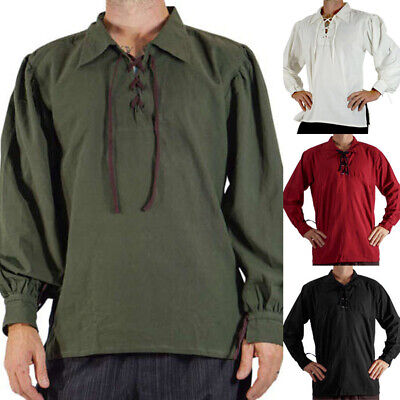 Medieval Mens Knight Pirate Shirt Lace up Loose Cosplay Costume Fancy Tops - Mens Pirate Shirts