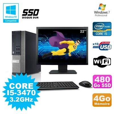 Lot PC DELL Optiplex 790 SFF Core I5-3470 3.2Ghz 4Go 480Go SSD WIFI W7 + Ecran 2