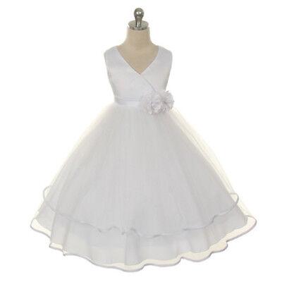 Little Girl White Satin Dress with Flower Brooches Size 4](White Little Girl Dresses)