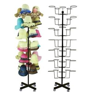 Hat -black Cap Display Retail Hat Cap Rack Rotating Spinner Metal Stand Floor300003
