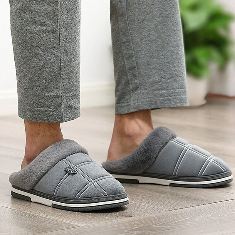 Large Size Men Fur Slippers Winter Warm Cozy House Slippers