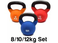SET OF 3 FXR SPORTS CAST IRON KETTLEBELL KETTLEBELLS RUBBER SLEEVE 8, 10, & 12KG