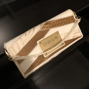Bebe Clutch Purse. White & Gold. Vintage. UNUSED, tags on!