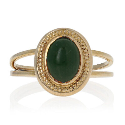 Oval Cabochon Cut Nephrite Jade Ring - 10k Yellow Gold Converted Stickpin