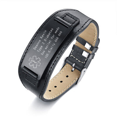 Black Plate Genuine Leather Medical Alert ID Men Bracelet Bangle DIY Engraving - Medical Jewelry Id Plate